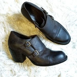 BORN davis Monk double strap leather booties